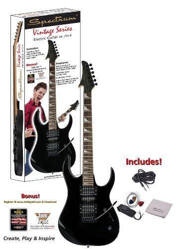 spectrum ail 75v b vintage series shark style electric guitar pack black arts entertainment. Black Bedroom Furniture Sets. Home Design Ideas