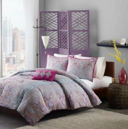 Full Queen Girls Teen Purple Pink Blue Gray Paisley Comforter Bedding Set front-945870