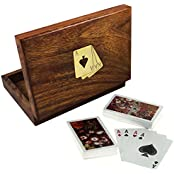 Set Of 4 - Playing Card Gift Set - Wooden Card Holder Box With 2 Decks Of Plastic Playing Cards - Gifts Pack -...