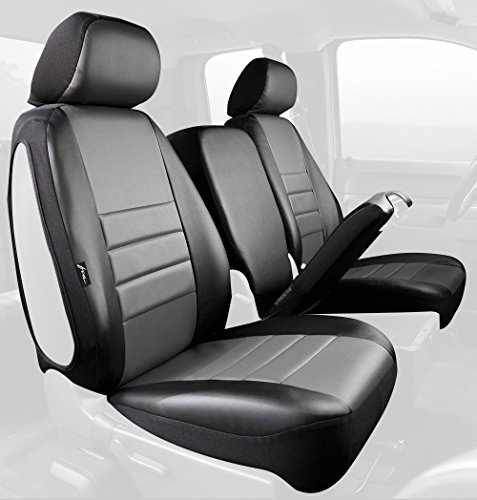 Fia SL69-11 GRAY Custom Fit Front Seat Cover Split Seat 40/20/40 - Leatherette (Black w/Gray Center Panel) (02 Dodge Ram Center Console Cover compare prices)
