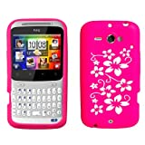 HTC ChaCha Floral Silicone Case Cover Hot Pink And Whiteby Yousave Accessories