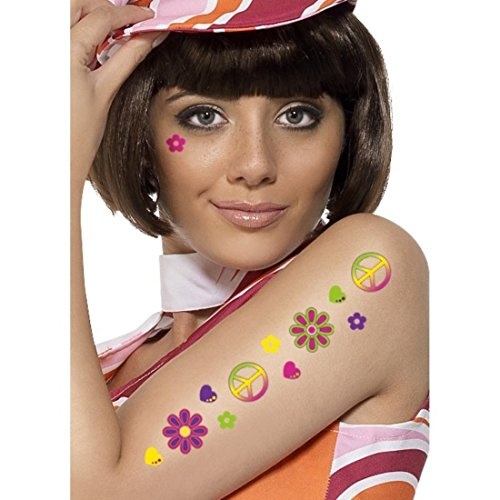 Temporary Flower Power and Peace Symbol Tattoos for 60s Fancy Dress-Up. Add a nice finishing touch to your look.