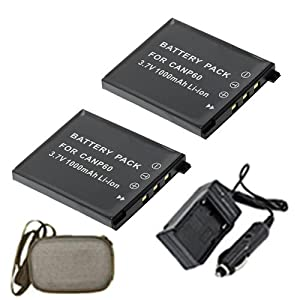 ValuePack (2 Count): Extended Life Replacement Battery PLUS Mini Battery Travel Charger for Specific Digital Camera and Camcorder Models / Compatible with Casio NP-60, Exilim EX-S10, EX-S10BE, EX-S10BK, EX-S10RD, EX-S10SR, EX-Z80, EX-Z80BE, EX-Z80BK, EX-Z80GN, EX-Z80PK, EX-Z80SR, EX-Z80VP, EX-Z9, EX-Z9BK, EX-Z9EO, EX-Z9PK, EX-Z9SR, Zoom EX-Z20 Charges with Intelligent Charge Technology - Includes Car Adapter, Hard Case Camera Bag and TWO Batteries