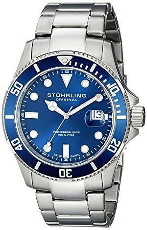 Reloj de Pulsera Stuhrling Original Men's 417.03 Aquadiver Regatta Espora Swiss de acero inoxidable