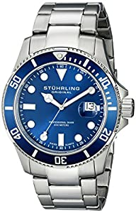 Stuhrling Original Men's 417.03 Aquadiver Regatta Espora Swiss Quartz Professional Diver Blue Dial Stainless Steel Bracelet Watch