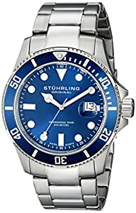 Stuhrling Original Men's 417.03 Aquadiver Regatta Espora Swiss Quartz Professional Diver Blue Dial Stainless Steel Bracelet Watch