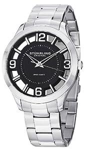 Stuhrling Original Men's 754.02 Winchester Court Swiss Quartz Black Dial Transparent Watch