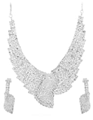 Voylla Glittering CZ Studded Necklace Set With Silver Tone
