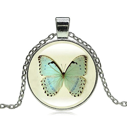Pop Wild Women New Vintage Time Gems Butterfly Romantic Glass Cabochon Statement Pendant Necklace (Refrigerator Naturally compare prices)