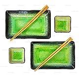Happy Sales 6 PC Japanese Sushi Plate Dinnerware set Green Ocean #2809