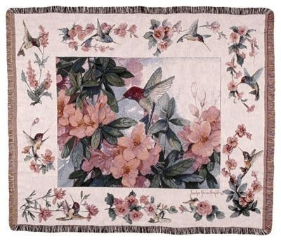 Hummingbird Garden Mid-Size Deluxe Tapestry Throw Blanket Usa Made front-876977