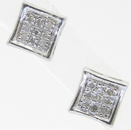 Mens 925 Sterling Silver earrings fancy stud hoops huggie ball fashion dangle white small square pave earrings