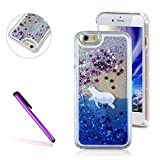 iPhone 6S Plus Case, LEECO iPhone 6 Plus Case 3D Quicksand Liquid Bling Floating Stars Moving Hard Protective Phone Case Cover for Apple iPhone 6 / 6S Plus 5.5 inch (Polar bear)
