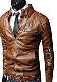 Mens Slim Fit Pu Leather Jackets Coats Black, Brown Size XS,S,M,L by NYC Leather Factory Outlet