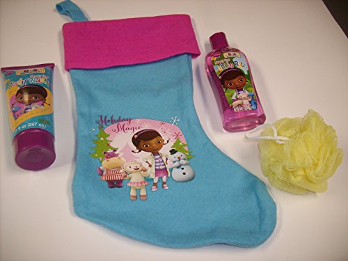 5pc Disney Juniors Doc McStuffins Bath & Fun Bundle Gift Set with Festive Pink & Blue Doc Stocking, Berry Fine 7oz Body Wash, 8oz Bubble Bath & Body Puff
