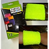 4 Wristband (2 Pair) In FLUORA GREEN Color Soft Sweatband For All Sport, Stretchable, Sweat Absorbent Supports Wrist MADE In INDIA