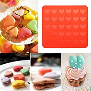 Yunko Silicone Macaron Macaroon Baking Sheet Mat Muffin DIY Chocolate Cookie Mould Mode - 30 Capacity (Heart)