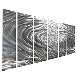 large silver water inspired metal wall art contemporary metal wall art decor sculpture. Black Bedroom Furniture Sets. Home Design Ideas