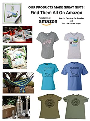 Camping For Foodies Cotton Eco-Friendly Reusable Grocery Tote Bag with Pen Loop and Cute Retro RV Camper Trailer, Camp, Hike, Cook, Drink, Eat, Repeat Design
