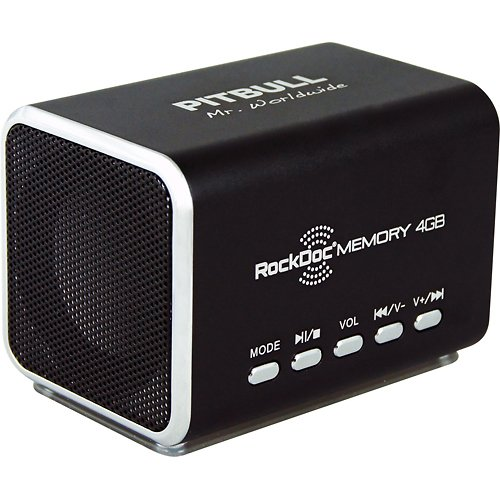 Pitbull Rockdoc Boom 2-Way Portable Mp3 Speaker With 4Gb Memory - Black