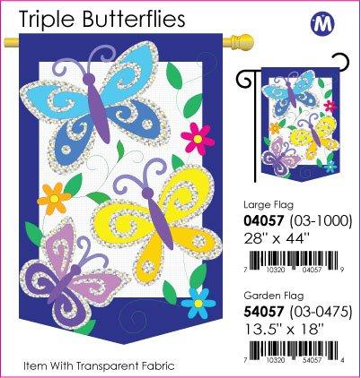 Triple Butterflies Flag Indoor/Outdoor 28