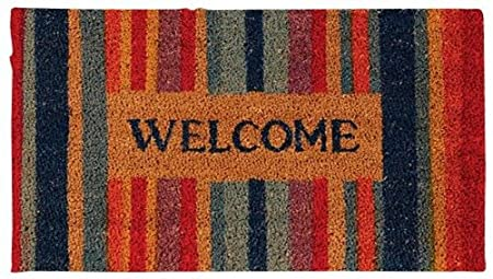 W Elcome Printed Coir Doormat With Multicolor Stipes Background. Coir Mat  With Vinyl Back. Color Is Dyed Into The Coir Fiber, Not Just A Stamped Image