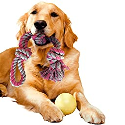 YourSweetPet Chew Toy for Large, Medium Dogs, 3-Knotted Dog Rope with Handle, 100% Cotton, Play Tug of War, Aggressive Chewers, Nearly Indestructible, Dental Chew, Indoor and Outdoor Pet Toy