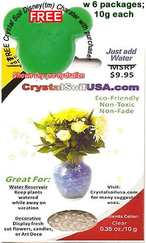 1 FREE Crystal Soil Disney(tm)Charater w/ 6 Pkg. CLEAR Round CrystalsoilUSA Water Pearl Beads for Floral Arrangements