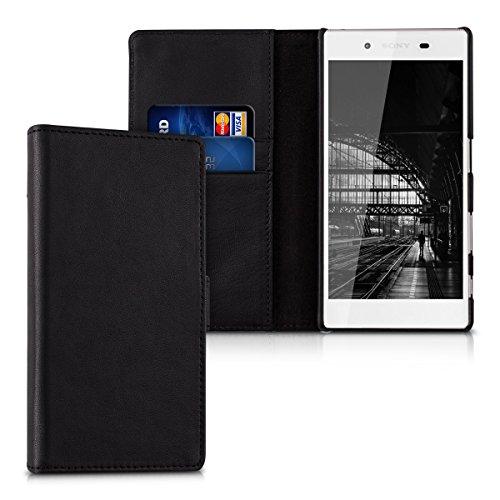 kalibri-Leder-Hlle-James-fr-Sony-Xperia-Z5-Echtleder-Schutzhlle-Wallet-Case-Style-mit-Karten-Fchern-in-Schwarz