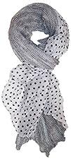 LibbySue-Border Print Polka-Dot Crinkle Scarf in a Choice