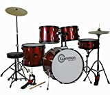 New Drum Set Wine Red 5-Piece Complete Full Size with Cymbals Stands Stool Sticks