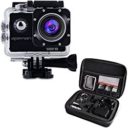 APEMAN Action Camera impermeabile 1080P HD 170 gradi 12MP accessoristica gratuiti, Videocamera per casco (Nero)