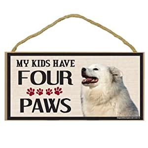 Imagine This Wood Breed Four Paws Sign, American Eskimo
