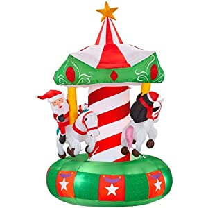 Gemmy inflatable animatronic airblown carousel for Amazon christmas lawn decorations