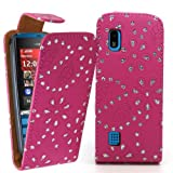 Accessory Master 5055716365658 PU Leather Flip Case with Diamantés for Nokia Asha 300 Pink