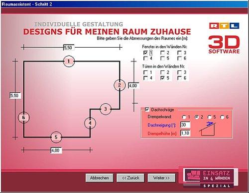 Rtl 3d software einsatz in 4 w nden software for Wohnraum farbgestaltung