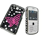 E4EMPORIUM BUTTERFLY GLITTER DIAMOND BLING STONE HARD CASE SHELL COVER FOR SAMSUNG CH@T335 CHAT S3350 3350