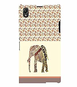 PrintVisa Animal Elephant Art 3D Hard Polycarbonate Designer Back Case Cover for Sony Xperia Z1