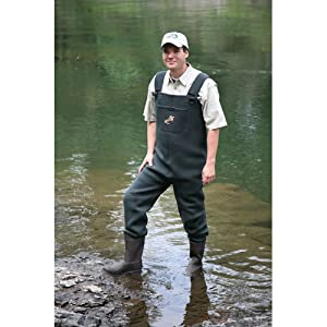 Caddis men 39 s green neoprene boot foot wader for Fishing waders amazon