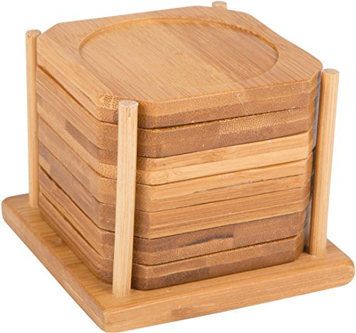 All Natural Bamboo Coaster - Set Of 7 In Holder - By Trademark Innovations