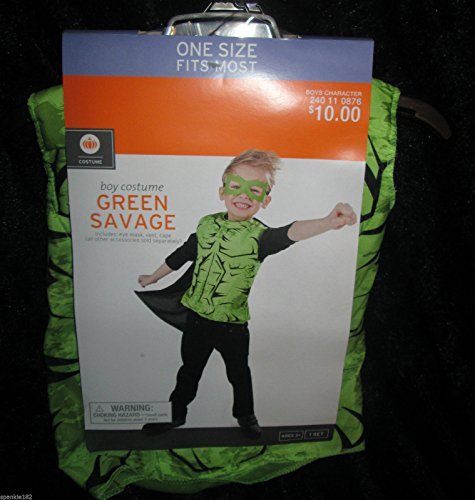 Boys Green Savage Halloween Costume Super Hero Superhero One Size Fits Most