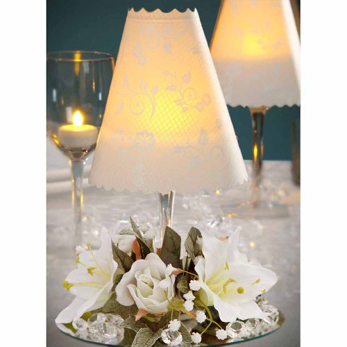 12 Centerpieces Incl: Floral Swirl Wine Glass Shades, Silk Flowers, Amber Battery Led Tea Lights Wedding Table Decoration
