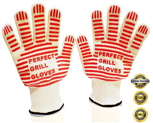 #1 Oven Gloves - Perfect Grill Gloves - Withstand Heat Up To 662°F - Great For Oven Mitts, Pot Holders Or Cooking Gloves - Premium Quality Heat Resistant Gloves For Kitchen, Barbecue, Grill And More - Your Safeguard Against Extreme Heat - 100% Satisfactio