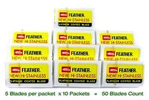 Feather Hi-Stainless Platimum Double Edge Razor Blades 50 Ct
