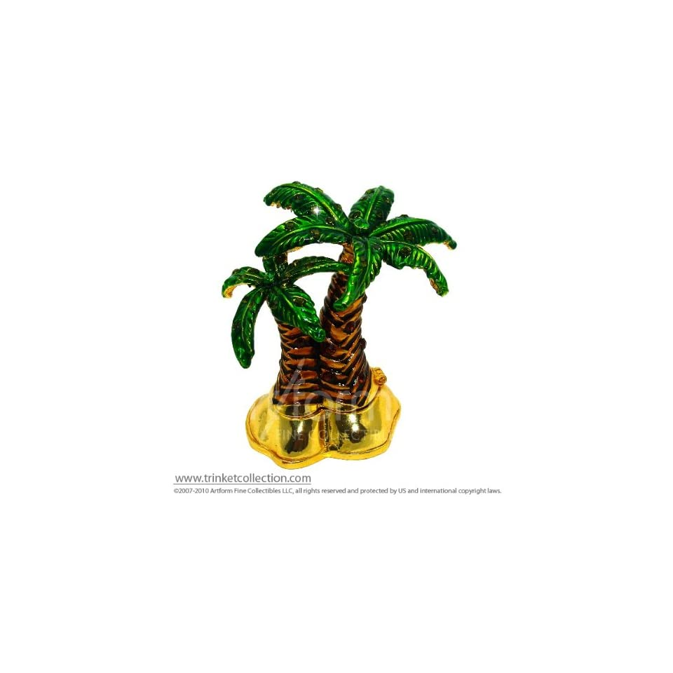 Objet DArt Release #355 Midnight At The Oasis Desert Palm Tree Grove Handmade Jeweled Metal & Enamel Trinket Box