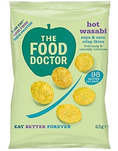 The Food Doctor Hot Wasabi Corn Soy & Chips 23g (pak van 10)