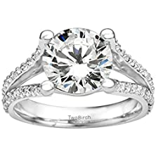 buy Split Shank Engagement Ring With 2.48 Cts Of Forever Brilliant Moissanite By Charles Colvard In Silver
