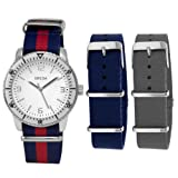 Breda Mens 8145-Navy.Set Joshua Interchangeable Canvas Band Watch Set
