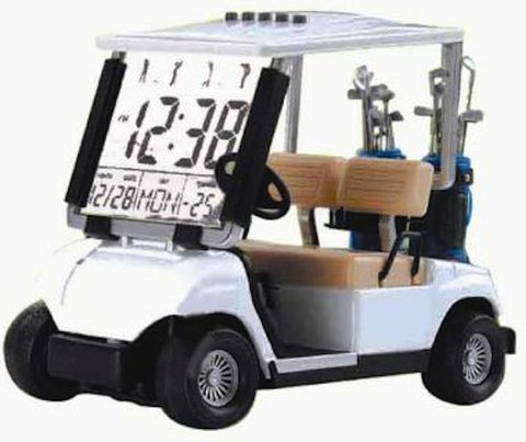 ChannelGoods Mini Golf Cart Alarm Clock White