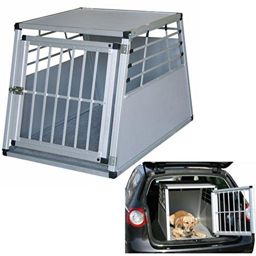 Petsafe mobile Alu-Transportbox für Hunde in 2 Größen wählbar: 75x55x50cm oder 92x65x65cm, vorn und hinten abgeschrägt, mit Gitter-Tür Aluminium-Käfig-Auto-Box Hundekäfig Aluminiumkäfig Hundebox Kfz-Alubox Aluminiumbox für Kofferraum Katzen Transportkäfig Katze Hunde leicht,stabil,sicher Hundetransportbox KfZ-Hundekäfig